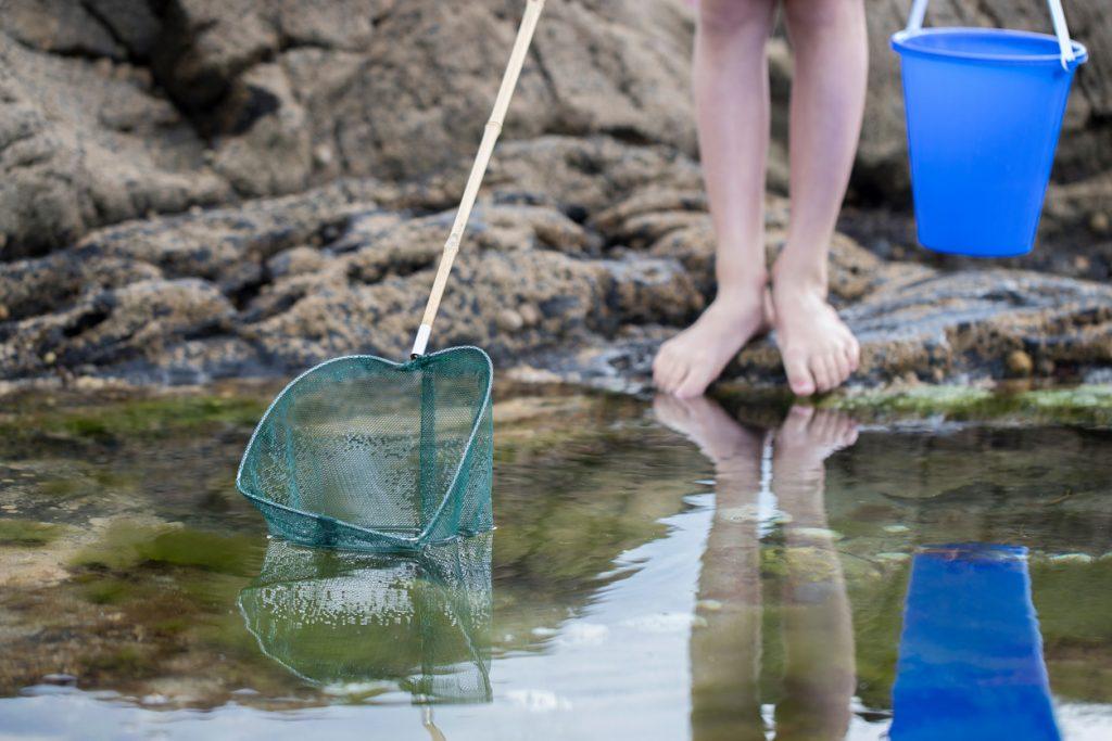 kid fishing in rockpool